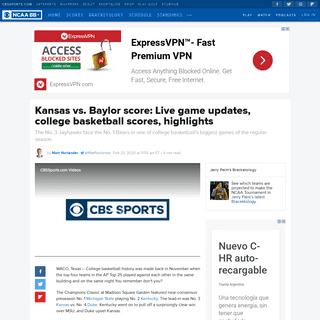 Kansas vs. Baylor score- Live game updates, college basketball scores, highlights - CBSSports.com