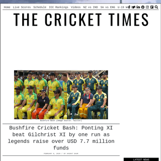 Bushfire Cricket Bash- Ponting XI beat Gilchrist XI by one run as legends raise over USD 7.7 million funds – CricketTimes.com