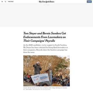 ArchiveBay.com - www.nytimes.com/2020/02/12/us/politics/bernie-sanders-tom-steyer-south-carolina.html - Tom Steyer and Bernie Sanders Got Endorsements From Lawmakers on Their Campaigns' Payrolls - The New York Times