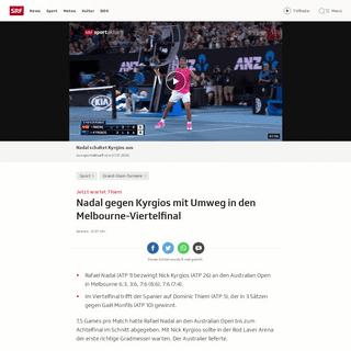 Jetzt wartet Thiem - Nadal gegen Kyrgios mit Umweg in den Melbourne-Viertelfinal - Sport - SRF