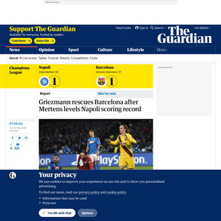 ArchiveBay.com - www.theguardian.com/football/2020/feb/25/napoli-barcelona-champions-league-last-16-first-leg-match-report - Griezmann rescues Barcelona after Mertens levels Napoli scoring record - Football - The Guardian