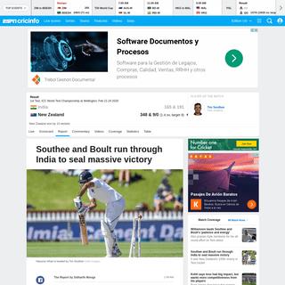 Recent Match Report - New Zealand vs India, ICC World Test Championship, 1st Test - ESPNcricinfo.com