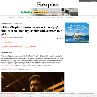 ArchiveBay.com - www.firstpost.com/entertainment/mafia-chapter-i-movie-review-arun-vijays-thriller-is-an-uber-stylish-film-with-a-wafer-thin-plot-8070171.html - Mafia- Chapter I movie review — Arun Vijay's thriller is an uber-stylish film with a wafer-thin plot- Entertainment News, Firs