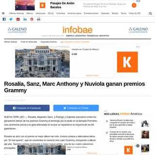 Rosalía, Sanz, Marc Anthony y Nuviola ganan premios Grammy - Infobae