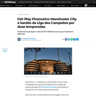 Fair Play Financeiro- Manchester City é banido da Liga dos Campeões por duas temporadas