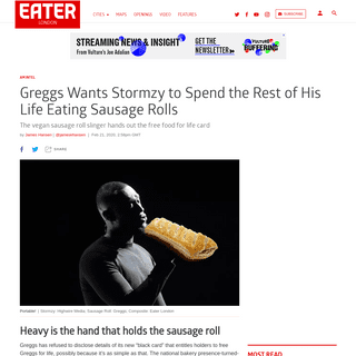 Greggs Gives Stormzy Black Card for Free Vegan Sausage Rolls - Eater London