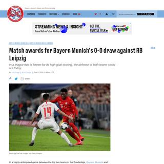 Match awards for Bayern Munich's 0-0 draw against RB Leipzig - Bavarian Football Works