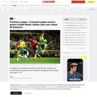 Premier League - Liverpool gagne encore grâce à Sadio Mané, buteur pour son retour de blessure - Foot - ANG - L'Équipe