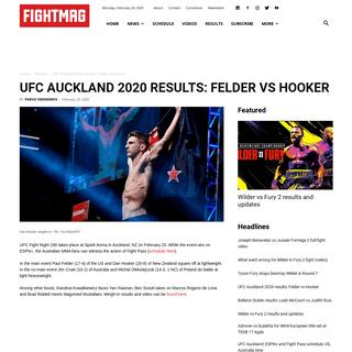 UFC Auckland 2020 results- Felder vs Hooker - FIGHTMAG