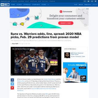 Suns vs. Warriors odds, line, spread- 2020 NBA picks, Feb. 29 predictions from proven model - CBSSports.com