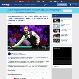 Snooker results- Judd Trump sees off Michael Holt in Players Championship; Neil Robertson crashes out in 6-4 defeat to Joe Perry
