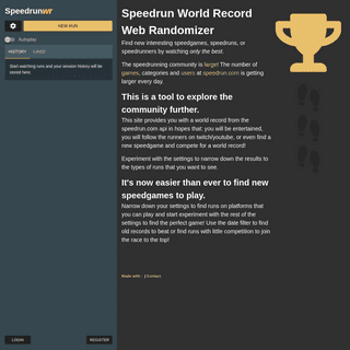 Random Speedrun World Record Videos - Speedrun Web Randomizer