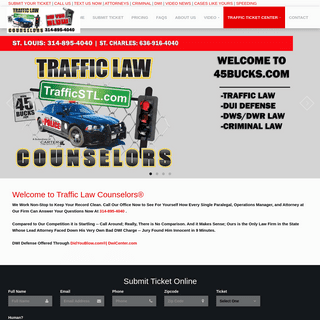 STL Traffic Law Counselors® ~$45 tickets (314) 895-4040 DWI ~$500, Attorneys Lawyer St. Louis, MO & St. Charles, MO traffic t