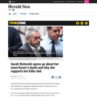 Karen Ristevski killing- Sarah opens up about relationship with Borce - Herald Sun