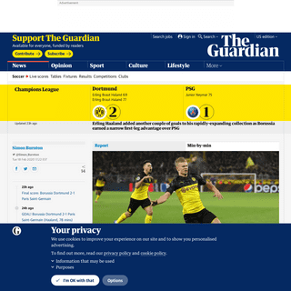 Borussia Dortmund 2-1 PSG- Champions League last 16 –as it happened - Football - The Guardian