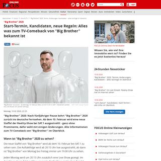 -Big Brother- 2020- Termin, Änderungen, Kandidaten – alles wichtige im Überblick - FOCUS Online