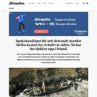 ArchiveBay.com - www.aftenposten.no/verden/i/jdJm9w/Spokelsesskipet-ble-sett-flytende-utenfor-Afrika-kysten-for-et-halvt-ar-siden-Na-har-det-dukket-opp-i-Irland - Spøkelsesskipet ble sett drivende utenfor Afrika-kysten for et halvt år siden. Nå har det dukket opp i Irland.