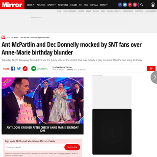 Ant McPartlin and Dec Donnelly mocked by SNT fans over Anne-Marie birthday blunder - Mirror Online