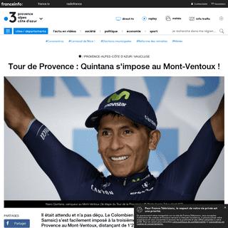 Tour de Provence - Quintana s'impose au Mont-Ventoux ! - France 3 Provence-Alpes-Côte d'Azur