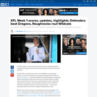 XFL Week 1 scores, updates, highlights- Defenders beat Dragons, Roughnecks rout Wildcats - CBSSports.com