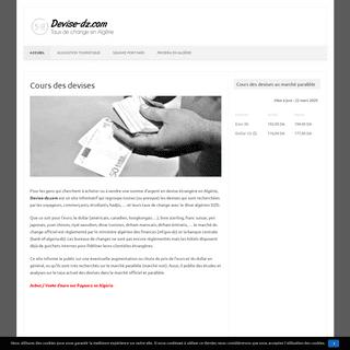 Devise-dz.com - Taux de change en Algérie (Euro - Dollar)