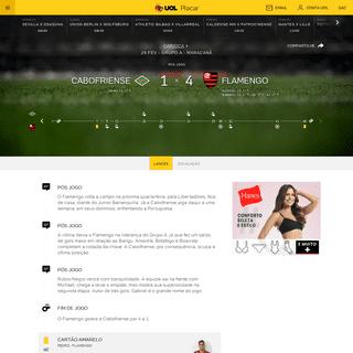 Cabofriense x Flamengo (29-02)- Placar ao vivo Carioca 2020 - Placar UOL