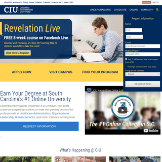 Online and On Campus Degrees Ranked #1 in South Carolina - Columbia International University