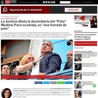 """La Justicia dilata la domiciliaria del """"Pata"""" Medina- Para su pareja, es """"una tomada de pelo"""""""