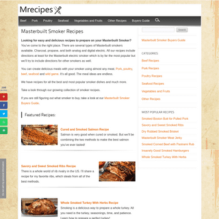 Masterbuilt Smoker Recipes - Delicious and Easy Recipes