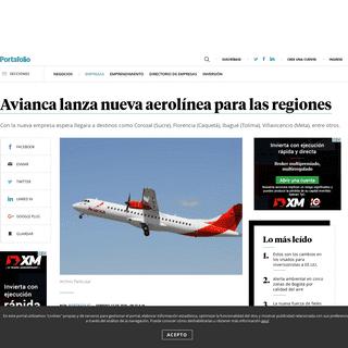 Avianca lanza nueva aerolínea para las regiones - Empresas - Negocios - Portafolio