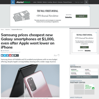 Samsung prices cheapest new Galaxy smartphones at $1,000, even after Apple went lower on iPhone - MarketWatch