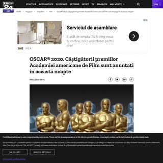 OSCAR® 2020. Câștigătorii premiilor Academiei americane de Film sunt anunțați în această noapte