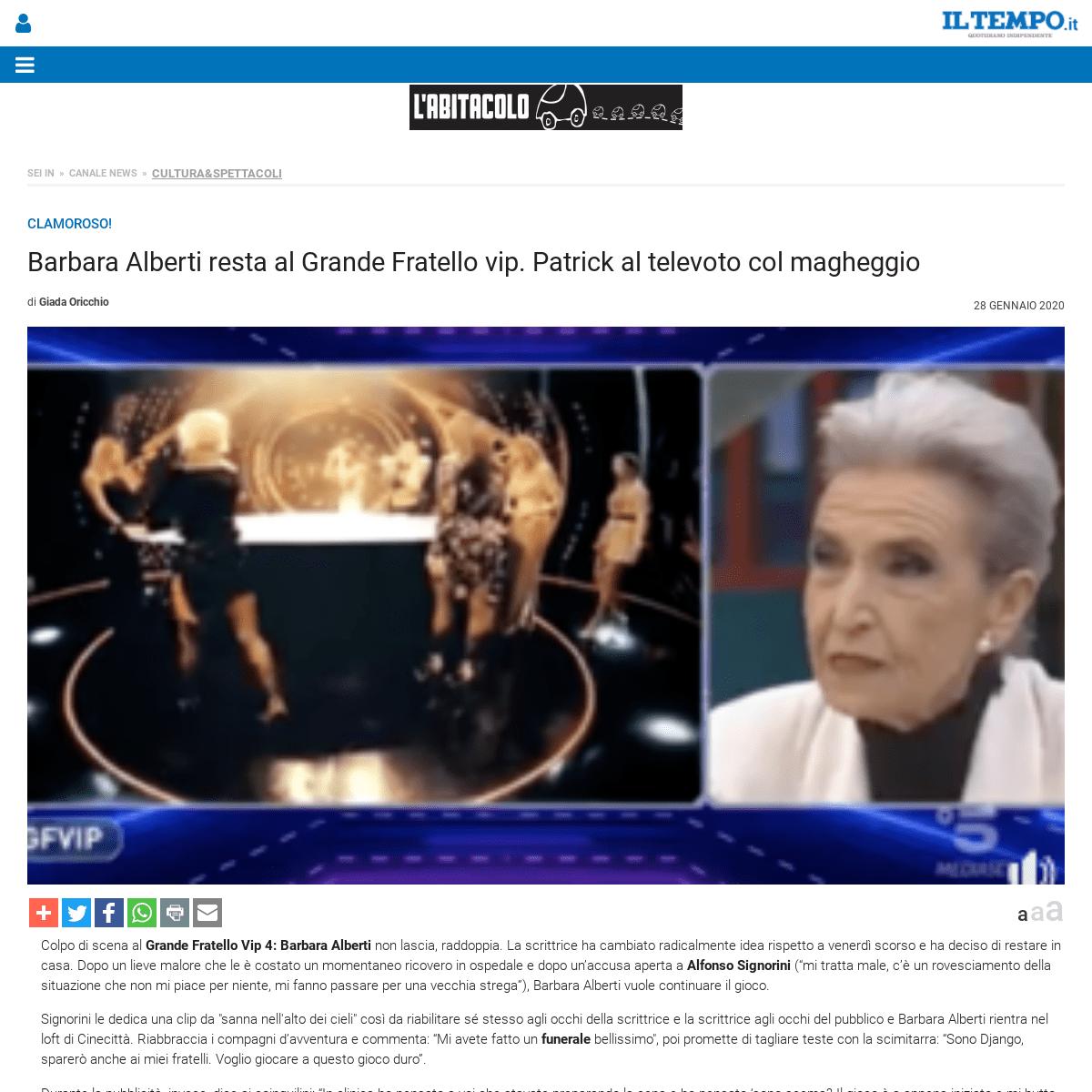 Barbara Alberti resta al Grande Fratello vip. Patrick al televoto col magheggio - Il Tempo