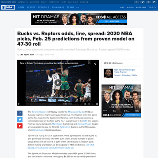 Bucks vs. Raptors odds, line, spread- 2020 NBA picks, Feb. 25 predictions from proven model on 47-30 roll - CBSSports.com