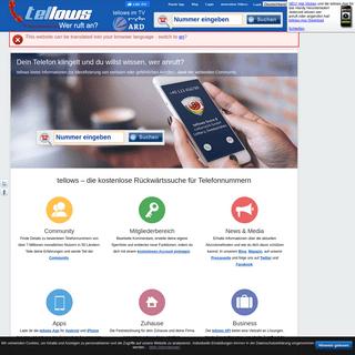 tellows - Die Community für Telefonnummern und Telefonspam - Rückwärtsuche - Inverssuche