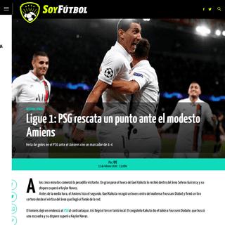Ligue 1- PSG rescata un punto ante el modesto Amiens - Soy Fútbol