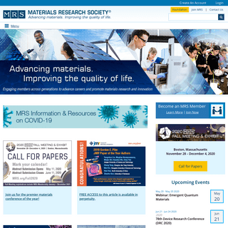 Materials Research Society (MRS) - Materials science journals, meetings, outreach