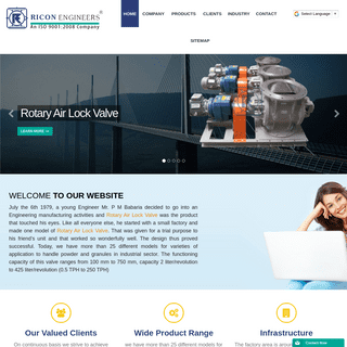 Ricon Engineers - Rotary valve, Rotary airlock valve manufacturer