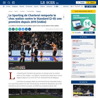 Le Sporting de Charleroi remporte le choc wallon contre le Standard (2-0)- une première depuis 2015 (vidéo) - Le Soir