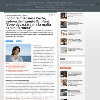 Il dolore di Rosaria Costa, vedova dell'agente Schifani- -Sono devastata ma la mafia non mi fermerà- - Rai News