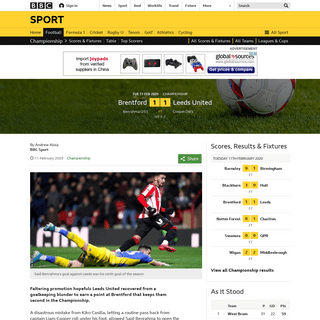 Brentford 1-1 Leeds United- Goalkeeping errors see promotion rivals share spoils - BBC Sport