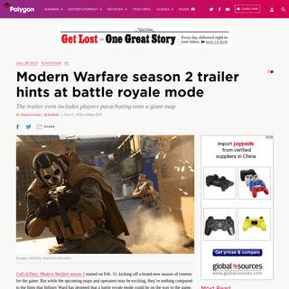 Call of Duty- Modern Warfare season 2 trailer teases battle royale mode - Polygon