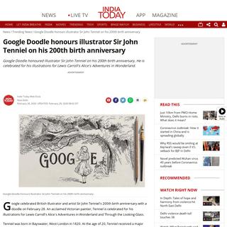 Google Doodle honours illustrator Sir John Tenniel on his 200th birth anniversary - Trending News News