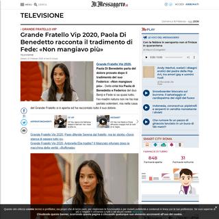 Grande Fratello Vip 2020, Paola Di Benedetto racconta il tradimento di Fede- «Non mangiavo più»