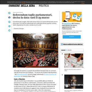 Referendum taglio parlamentari, decisa la data- sarà il 29 marzo - Corriere.it