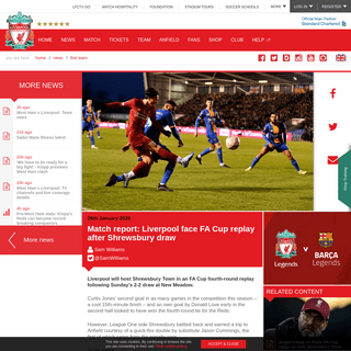 Match report- Liverpool face FA Cup replay after Shrewsbury draw - Liverpool FC