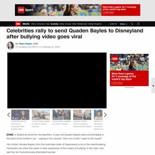 Quaden Bayles- Celebrities rally to send bullied boy to Disneyland - CNN