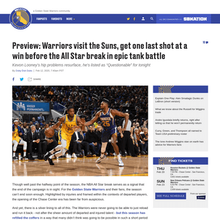 Preview- Warriors visit the Suns, get one last shot at a win before the All Star break in epic tank battle - Golden State Of Min