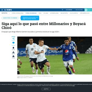 Millonarios vs. Boyacá Chicó en vivo Liga Betplay 2020 - Fútbol Colombiano - Deportes - ELTIEMPO.COM