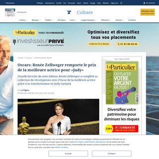 Oscars- Renée Zellweger remporte le prix de la meilleure actrice pour «Judy»